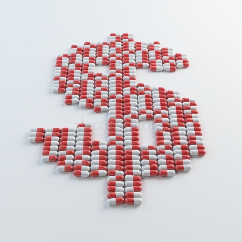 Pillen als een dollarteken dat worden gevormd stock illustratie