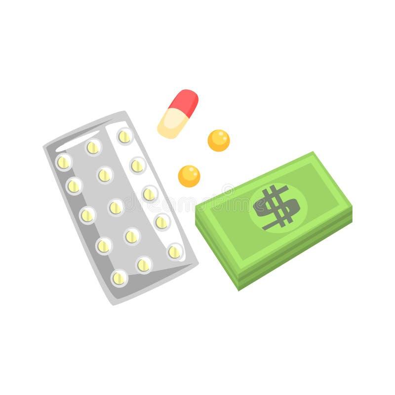 Pillen, capsules geneesmiddel en geld Kleurrijke beeldverhaalillustratie royalty-vrije illustratie