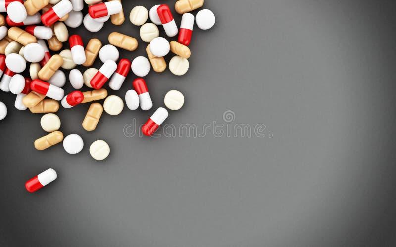 Pillen 3d, Kapseln und leere Tafel vektor abbildung