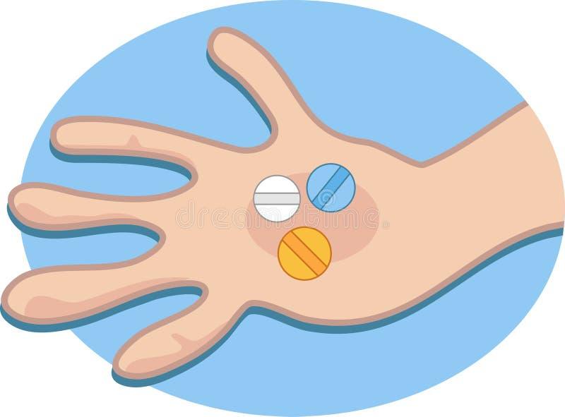 Pillen in der Hand lizenzfreie abbildung