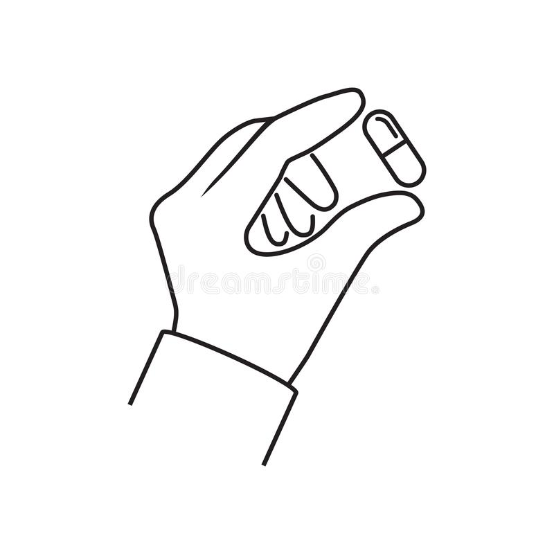Pillen in der Hand minimales ine Design vektor abbildung