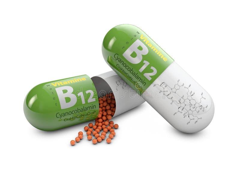 Pillen des Vitamins B12 der Wiedergabe 3d über weißem Hintergrund Konzept von diätetischen Ergänzungen stock abbildung