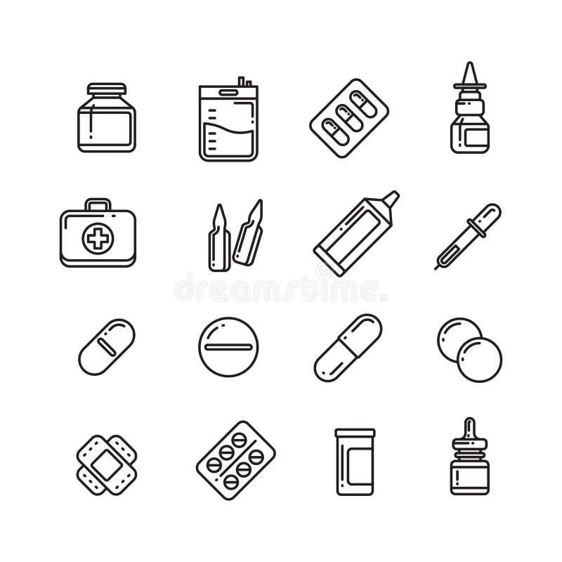 Pillen, drugs, apotheekgeneeskunde, de vectorpictogrammen van de medicijnlijn stock illustratie