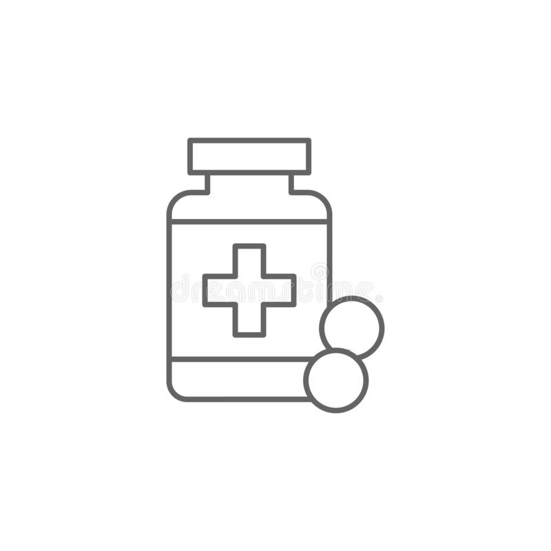Pillen, drugspictogram Pictogram van het geneesmiddel Thin line pictogram royalty-vrije illustratie
