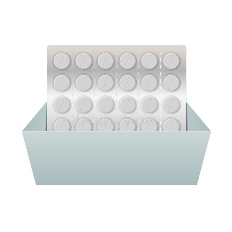 Download Pillen In Een Blaarpak In Een Doos. Vector Illustratie - Illustratie bestaande uit zorg, ziekte: 39108649