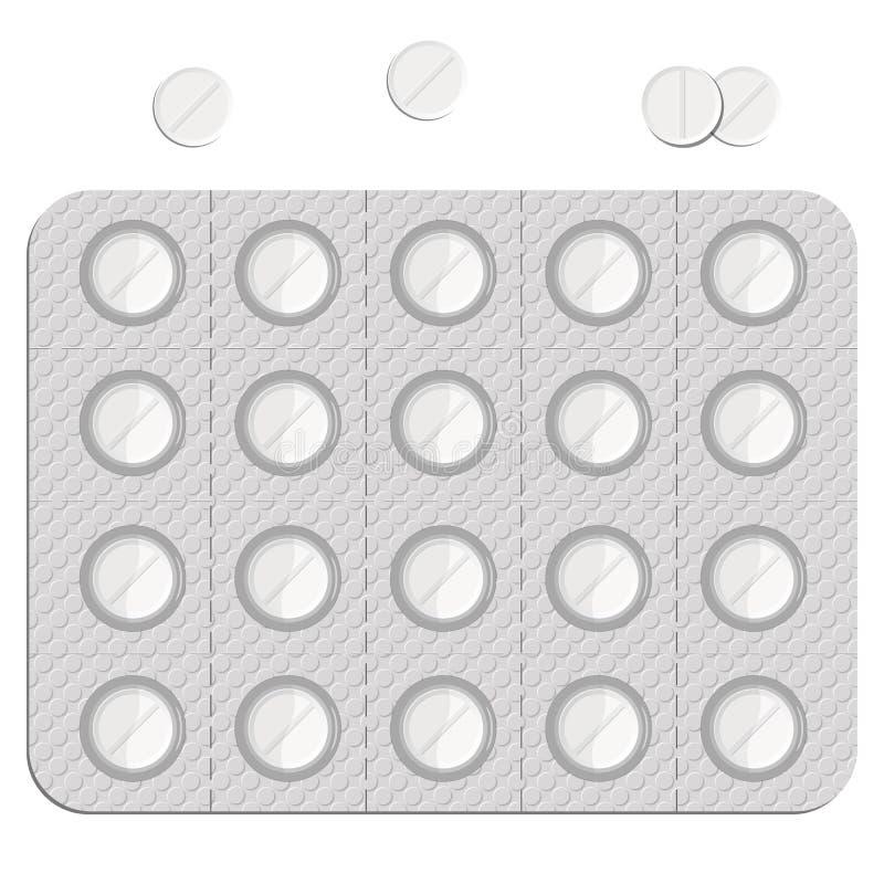 Pillen in einem Blasensatz vektor abbildung