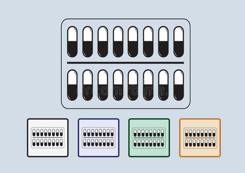 Pillen en capsulespictogramreeks royalty-vrije illustratie