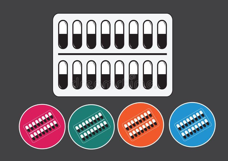 Pillen en capsulespictogramreeks vector illustratie