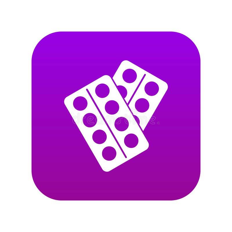 Pillen im digitalen Purpur der Paketikone stock abbildung