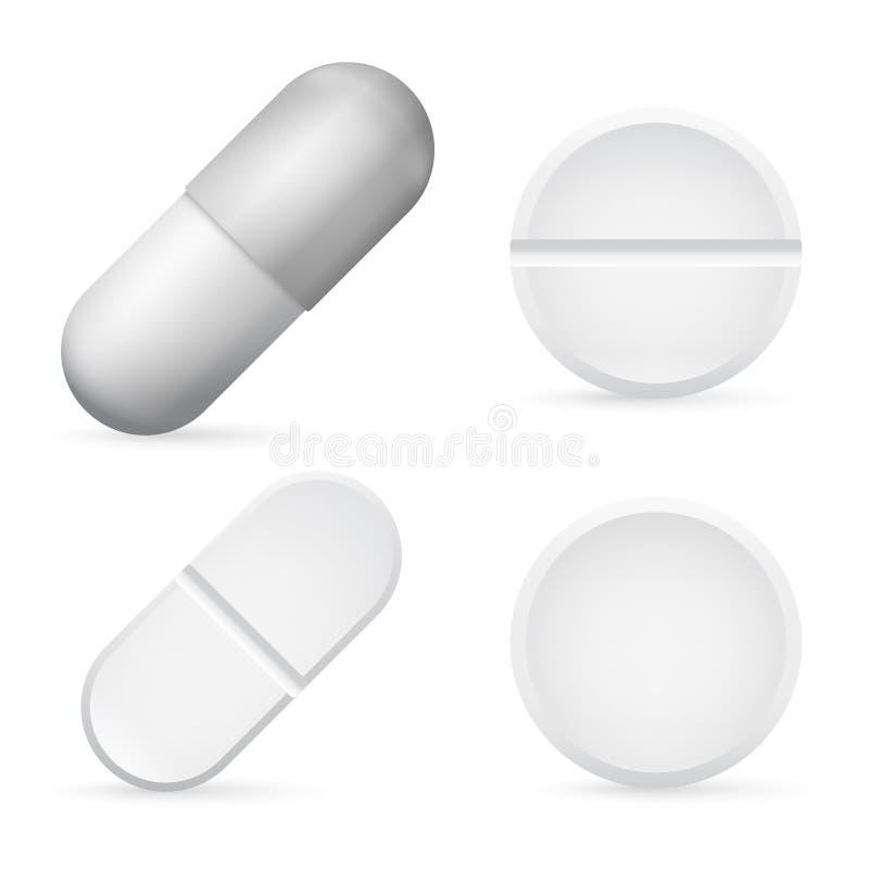 Pillen-Kapsel-Schablone, realistische weiße medizinische Ikonen-Satz-Nahaufnahme der Pillen-3d Apothekenbehandlung Vektor lizenzfreie abbildung