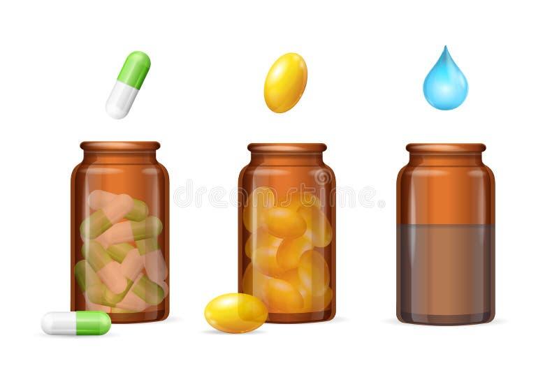 Pillen-Kapseln im medizinischen Glasflaschen-Satz Vektor vektor abbildung