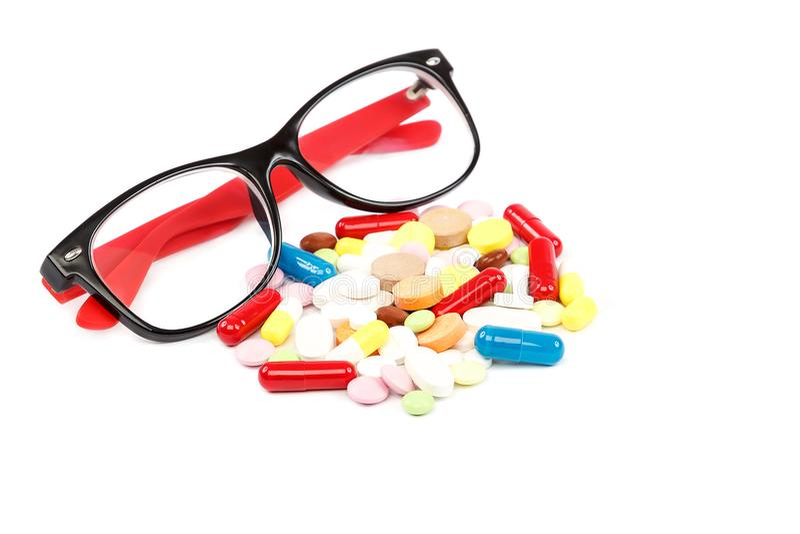 Pillen, Kapseln und Gläser Medikamente Medizin und Drogen lizenzfreies stockbild