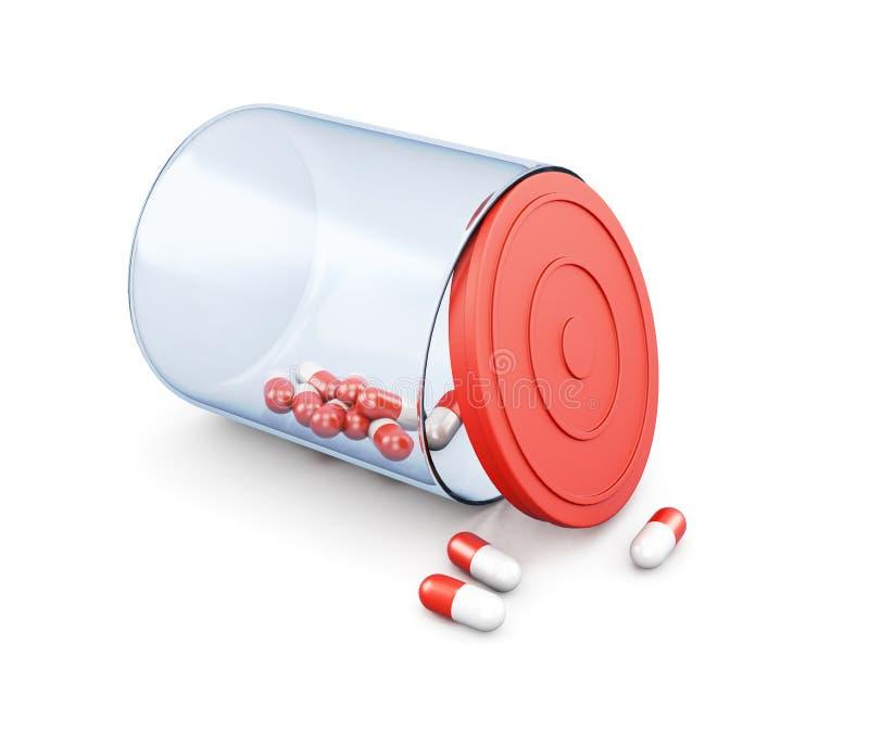 Pillen in kruik die op witte achtergrond wordt geïsoleerd het 3d teruggeven stock foto