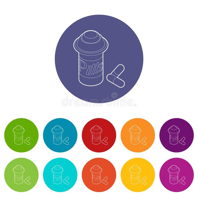 Download Pillen In Kruikpictogrammen Geplaatst Vectorkleur Vector Illustratie - Illustratie bestaande uit pictogram, geneeskunde: 114226268