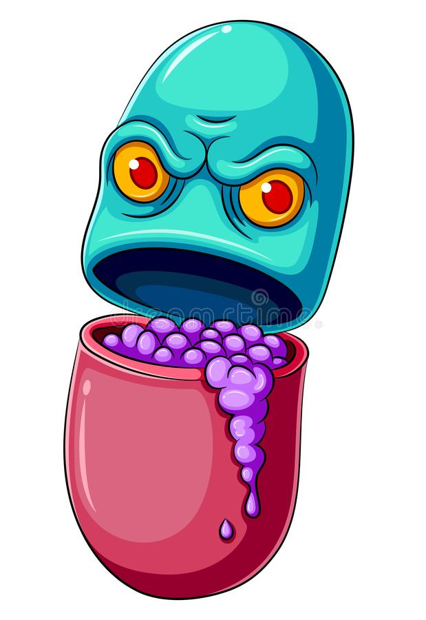 Pillen-oder Medizin-Zeichentrickfilm-Figur stock abbildung
