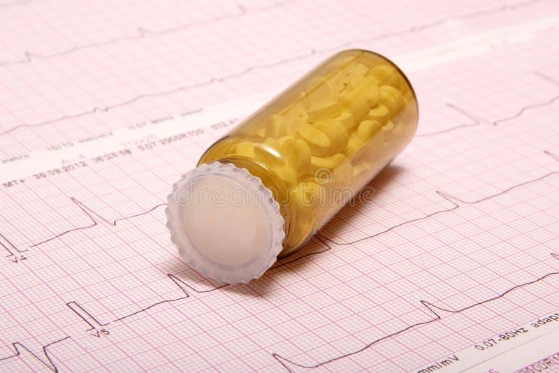 Pillen op Ecg- grafiek (resultaten ECG) stock foto