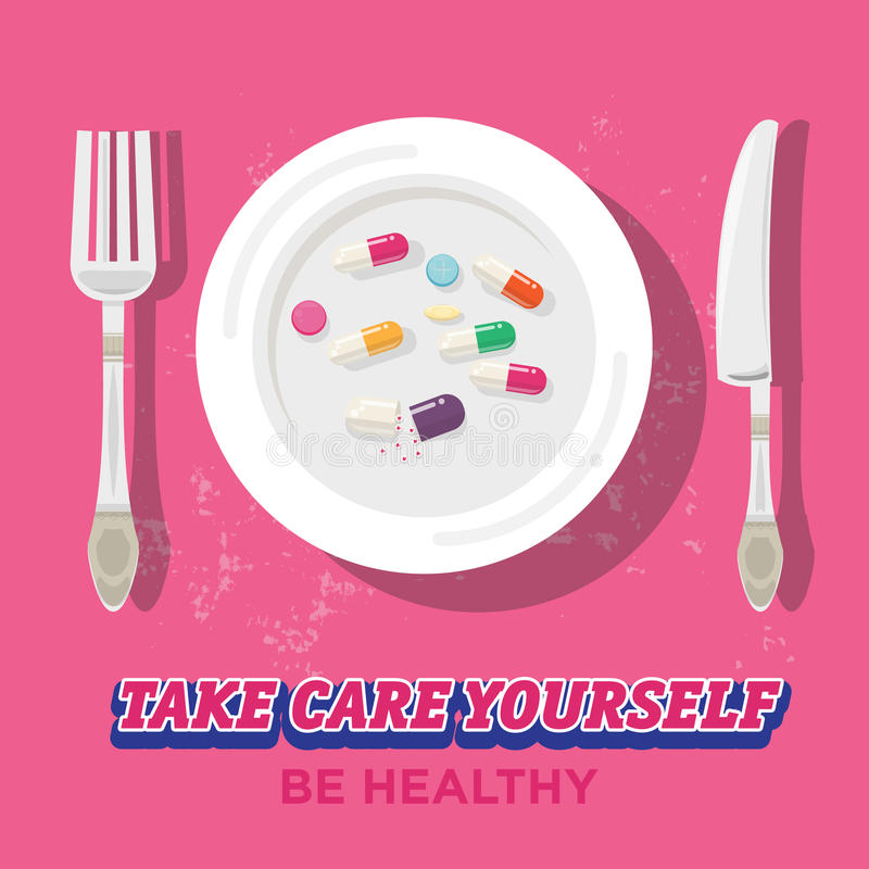 Pillen op plaat geneeskunde ongezond - stock illustratie
