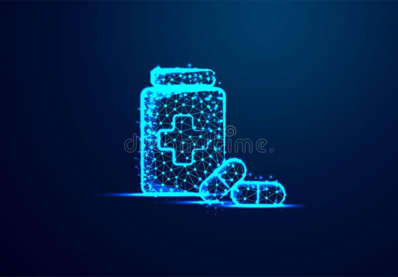 Pillen, tabletten en fles Abstracte lage poly, Driehoek, punt, lijn, veelhoek Glans blauwe achtergrond, Vectorillustratie royalty-vrije illustratie