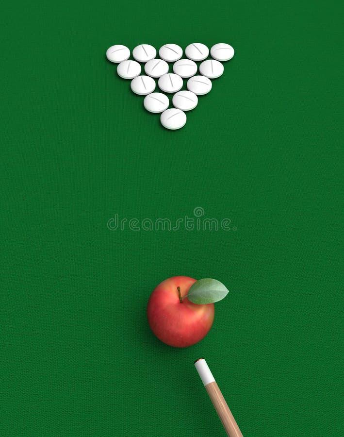 Pillen und Apfel auf Billiardtabelle lizenzfreies stockfoto