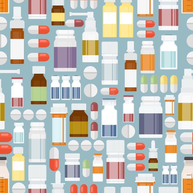 Pillen und Drogen im nahtlosen Muster lizenzfreie abbildung