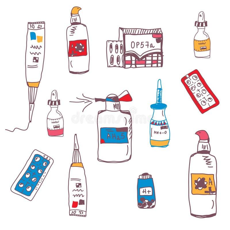Pillen und medizinisches Flaschengekritzel vektor abbildung