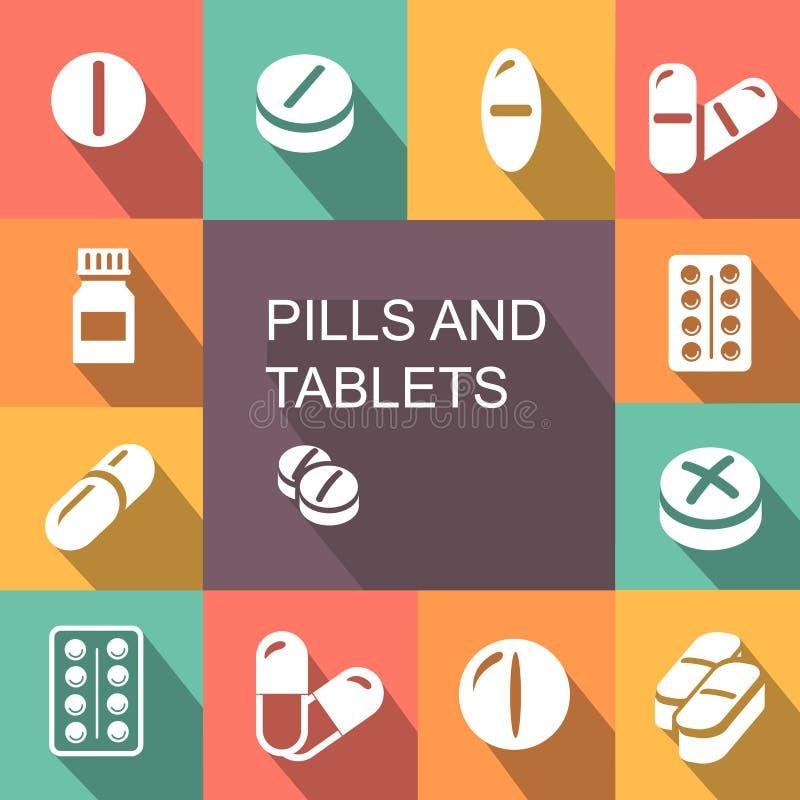 Pillen und Tablets färbten flache Art der Ikonen stock abbildung