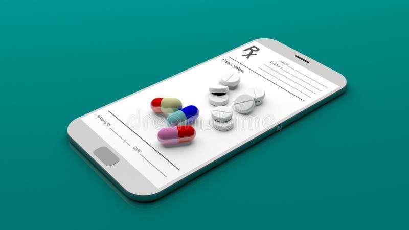 Pillen und Verordnung auf einem Smartphone Abbildung 3D stock abbildung
