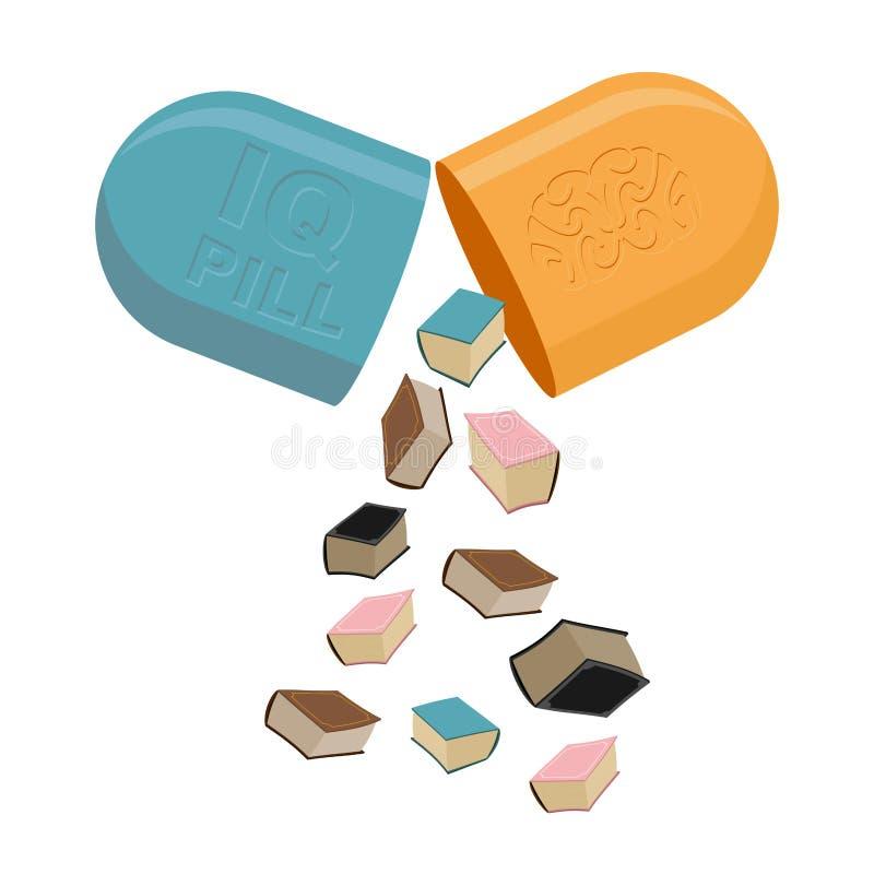Pillen voor mening Medicijn om IQ te verhogen Boeken in Tablet Vect vector illustratie