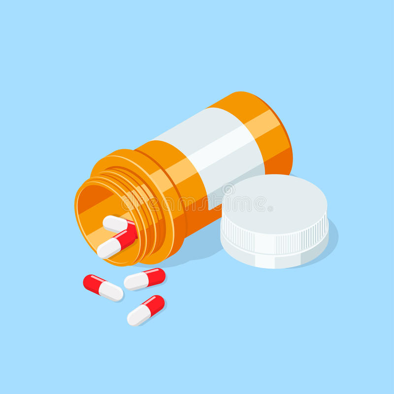 Pillen zur Oberfläche an verschütten Medizinischer Kapselbehälter stock abbildung