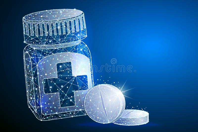 Pillen zur Oberfl?che an versch?tten Medizinischer Kapselbeh?lter abstrakte polygonale Bildbreilinie und -punkt Logo lokalisiert  lizenzfreie abbildung