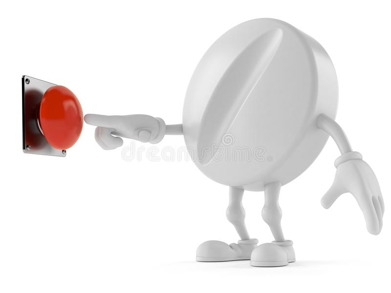Pillencharakter mit Druckknopf lizenzfreie abbildung