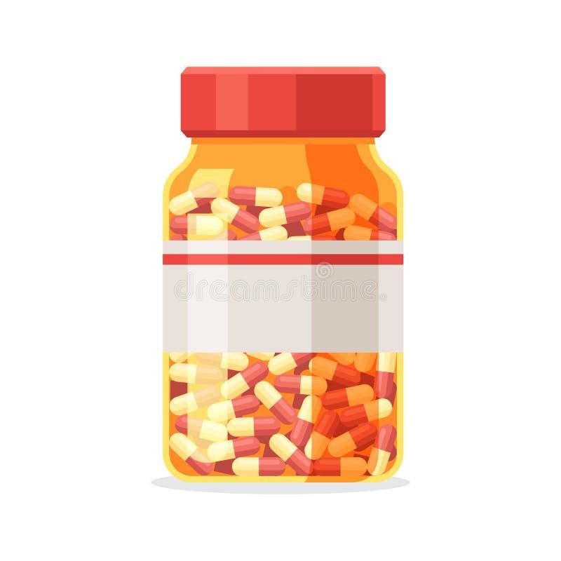 Pillenfles met capsules stock illustratie