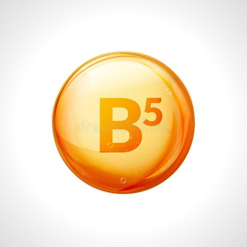 Pillenikone des Vitamins b5 Pantothensäurenahrungssorgfalt Goldtropfenwesentliches Lokalisiertes goldenes Vektorsymbol des Vitami vektor abbildung