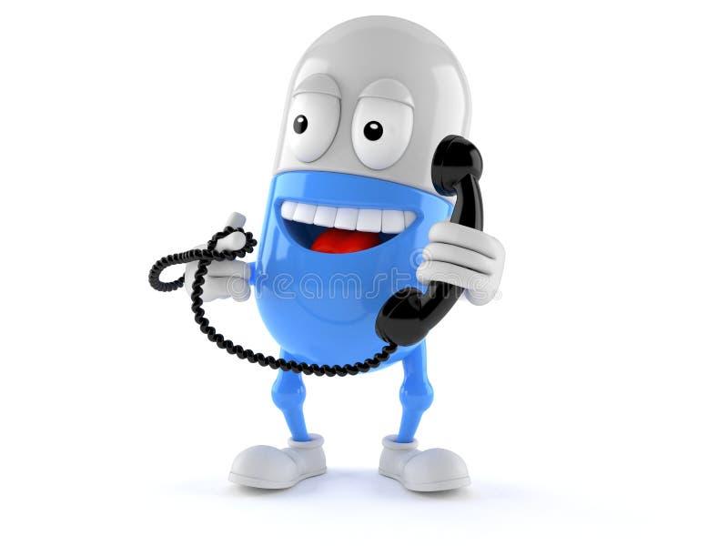 Pillenkarakter die een telefoonzaktelefoon houden stock illustratie