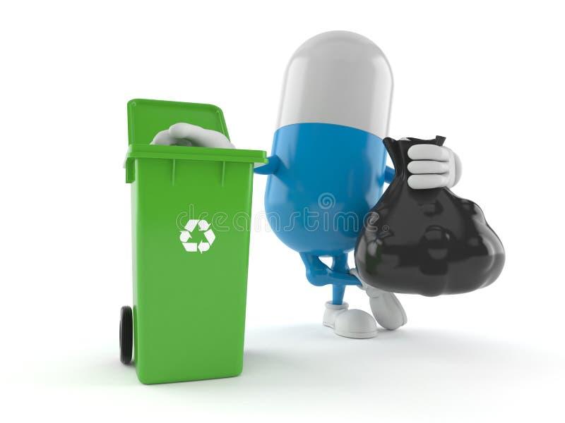 Pillenkarakter met vuilnisbak royalty-vrije illustratie