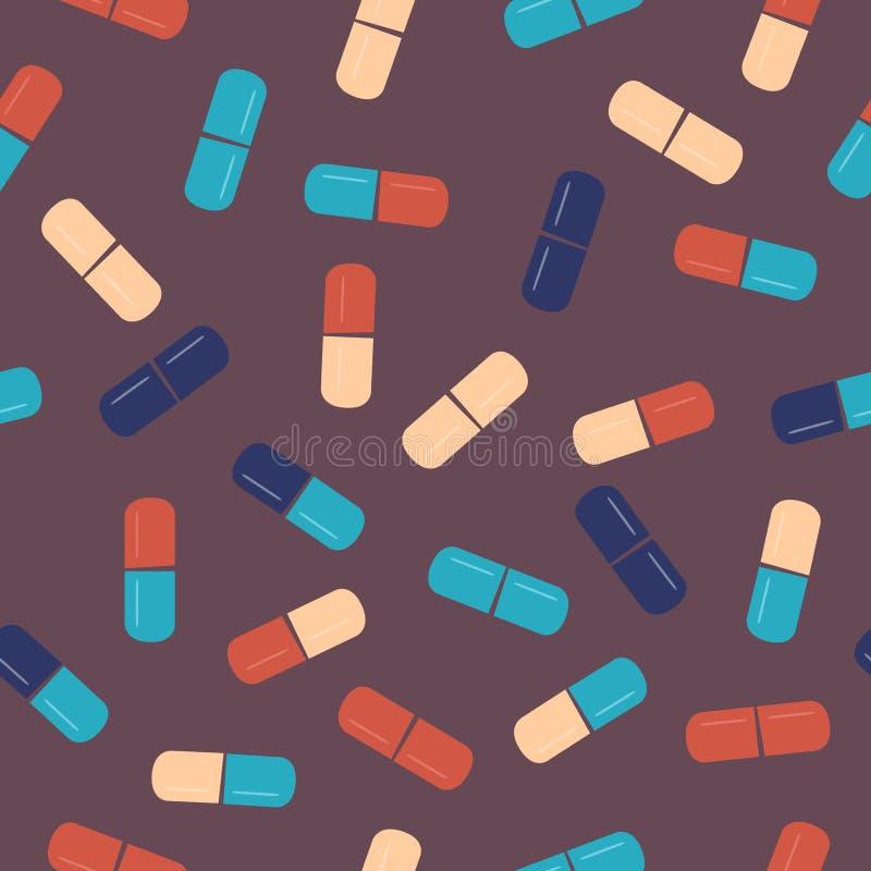 Pillensammlung Medizinische Pillen und nahtloses Muster der Kapseln vektor abbildung