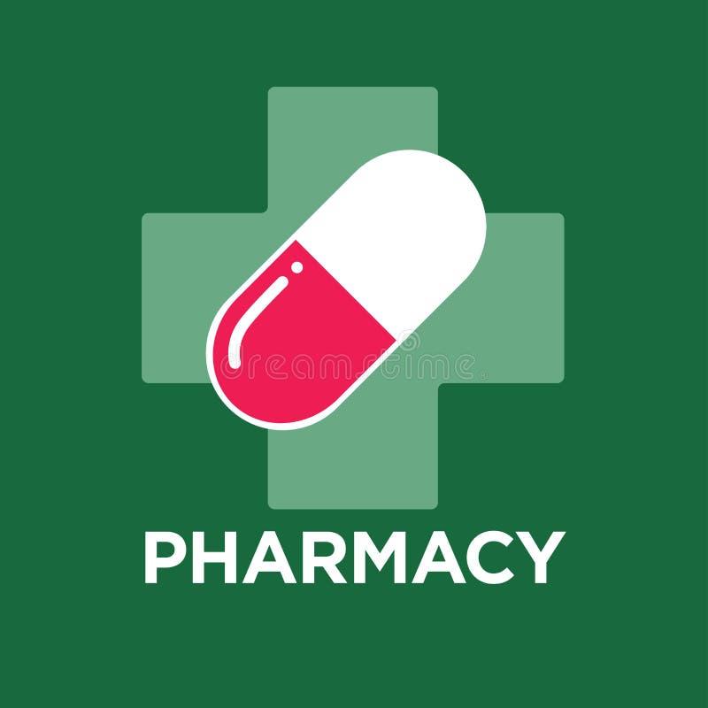 Piller eller kapsel och argt apotek och apotekmedicin och sjukvård royaltyfri illustrationer