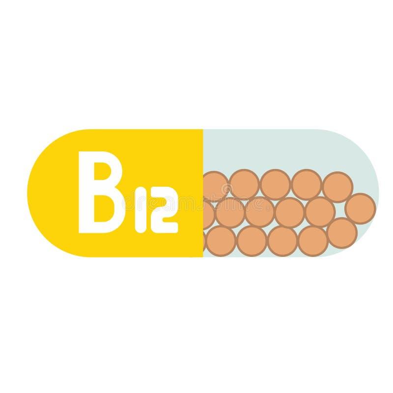 Piller för vitamin som b12 isoleras på vit bakgrund royaltyfri illustrationer