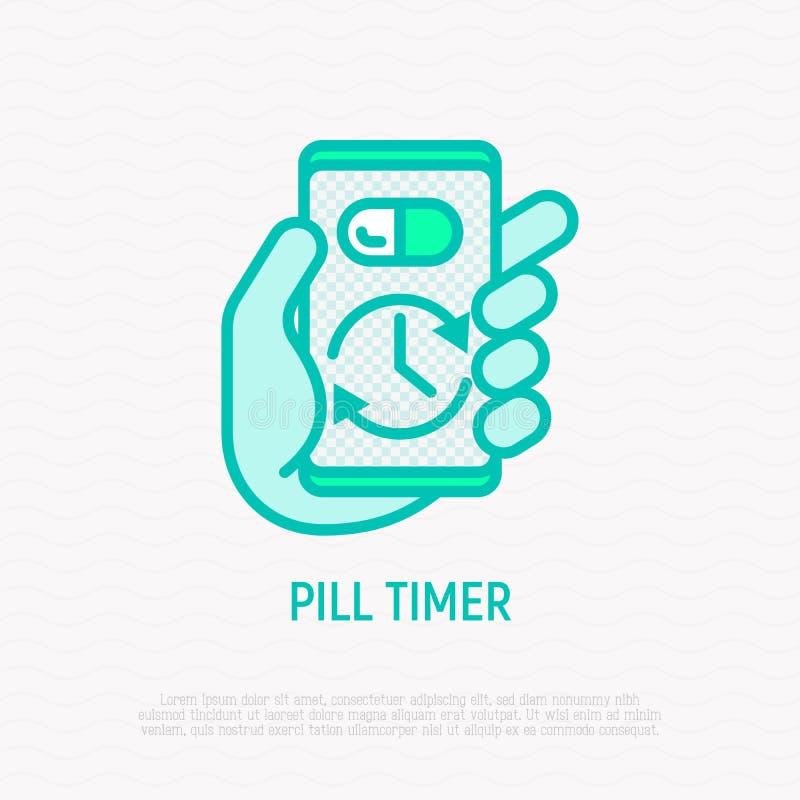 Pillertidmätare, tunn linje symbol för vård- mobil app vektor illustrationer