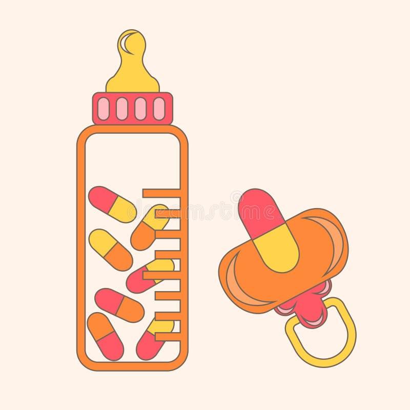 Pillls da chupeta do bebê ilustração stock