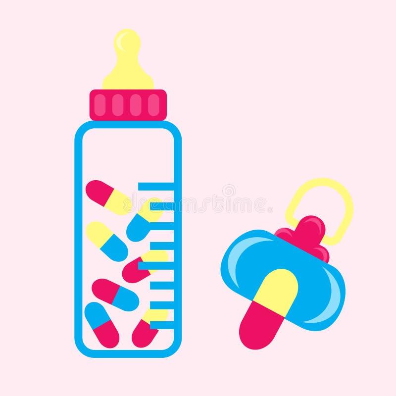 Pillls da chupeta do bebê ilustração royalty free