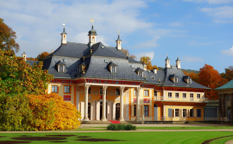 Pillnitz Castle in Dresden, Germany. Dresden, Germany; Pillnitz Castle - a restored Baroque palace at the eastern end of the city of Dresden in the German state stock photo