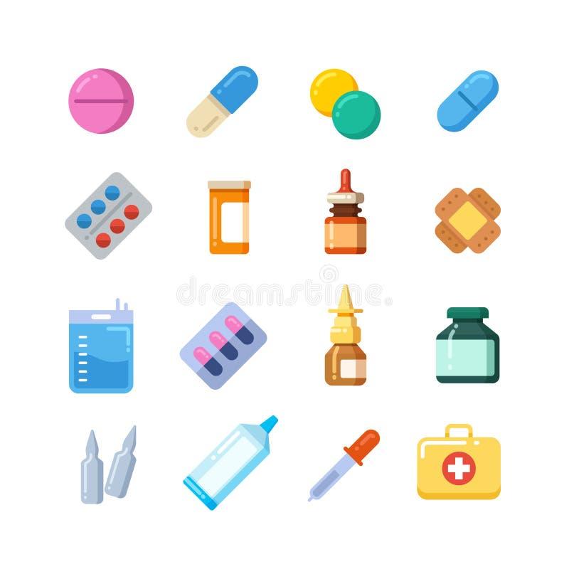 Pillola del fumetto della medicina, droga, tavola, antibiotici, icone piane della dose del farmaco illustrazione di stock