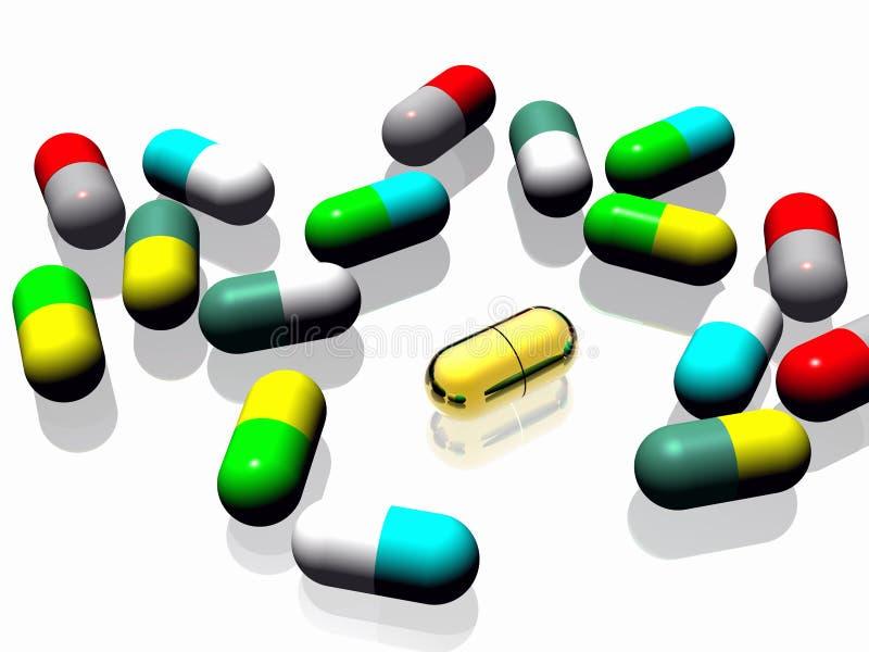 Pillola dell'oro illustrazione di stock