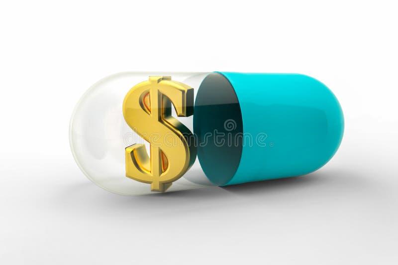 Pillola della droga con il simbolo di dollaro dorato dei soldi dentro royalty illustrazione gratis