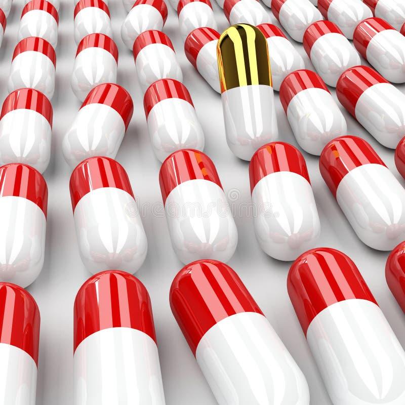 Download Pillola dorata 3d immagine stock. Immagine di emicrania - 7307983