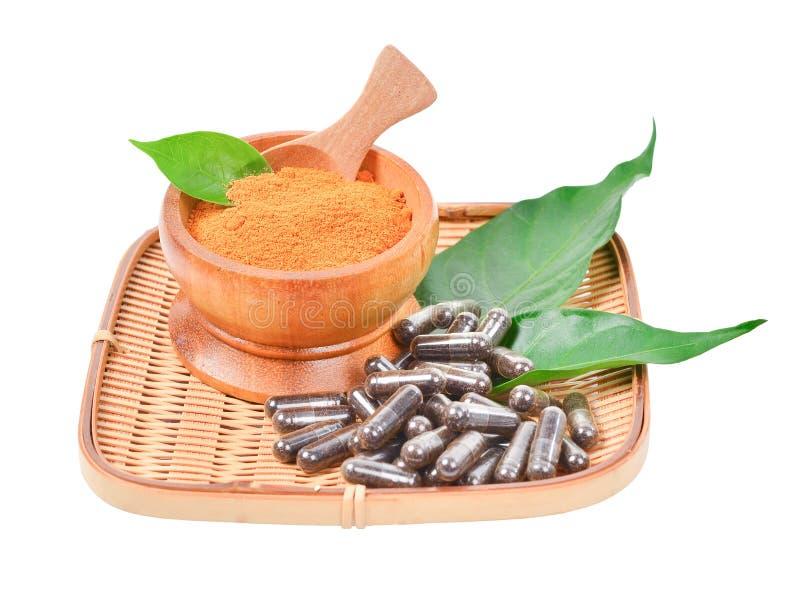 Pillola naturale della capsula della medicina con l'erba nera e mortaio di legno immagine stock