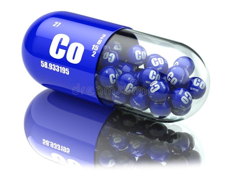 Pillole con gli integratori alimentari dell'elemento di Co del cobalto Capsul della vitamina illustrazione vettoriale