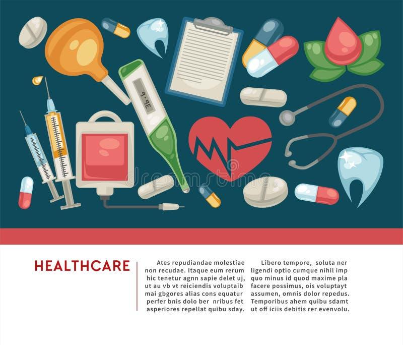 Pillole dell'insegna di sanità e medicina e trattamento medici degli strumenti royalty illustrazione gratis