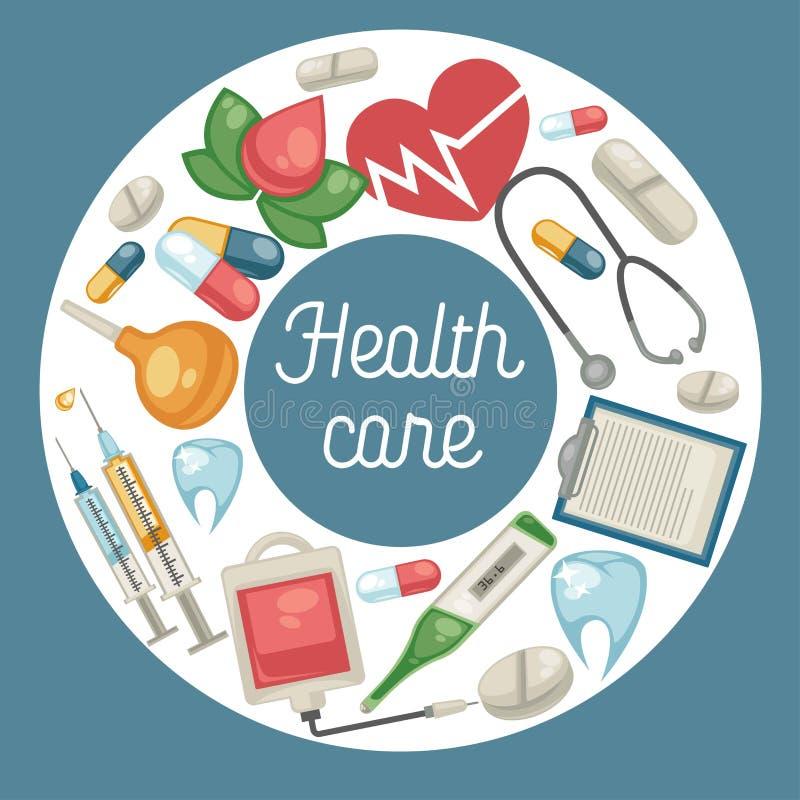 Pillole della medicina e di trattamento di sanità e farmacia medica degli strumenti royalty illustrazione gratis